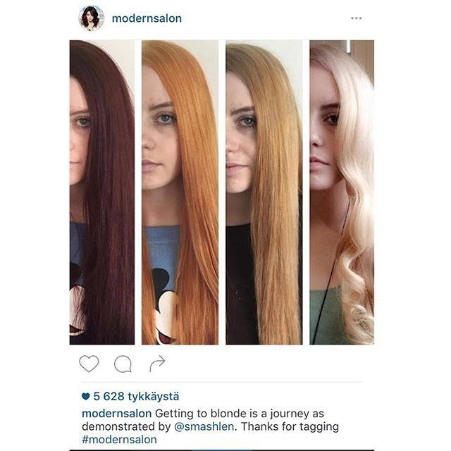 Seuraa tietoisku ja tipautus maanpinnalle!  Kevään tullen moni haaveilee vaaleammista hiuksista. Kun lähtötilanteena on tummanruskea/musta, on poikkeuksetta edessä pitkä tie.  Tässä erinomainen esimerkki siitä, millaisesta prosessista on kyse, ja kuinka monta vaalennus- ja värjäyskertaa tarvitaan vaaleiden hiusten saavuttamiseksi.  Toisinaan lopputulokseen päästään nopeastikin (muutamalla vaalennuksella) joskus kampaamokäyntejä tarvitaan useampia! Jokainen on yksilöllinen, ja prosessiin…