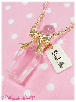 Angelic Pretty Drink Me Necklace - Pink omg, drink me :) alice in wonderland <3 i seriously want this so bad