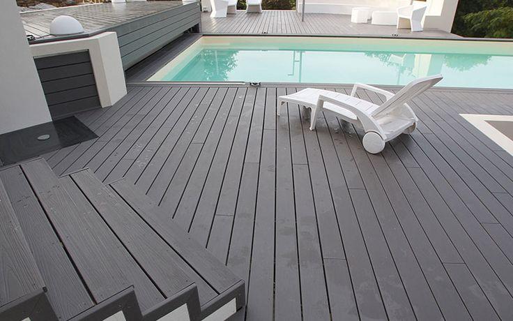 Tarima exterior color gris para combinar con su piscina, descubra ahora sus increibles precios