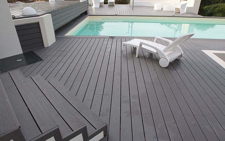 Tarima exterior color gris para combinar con su piscina - Tarima sintetica exterior precio ...