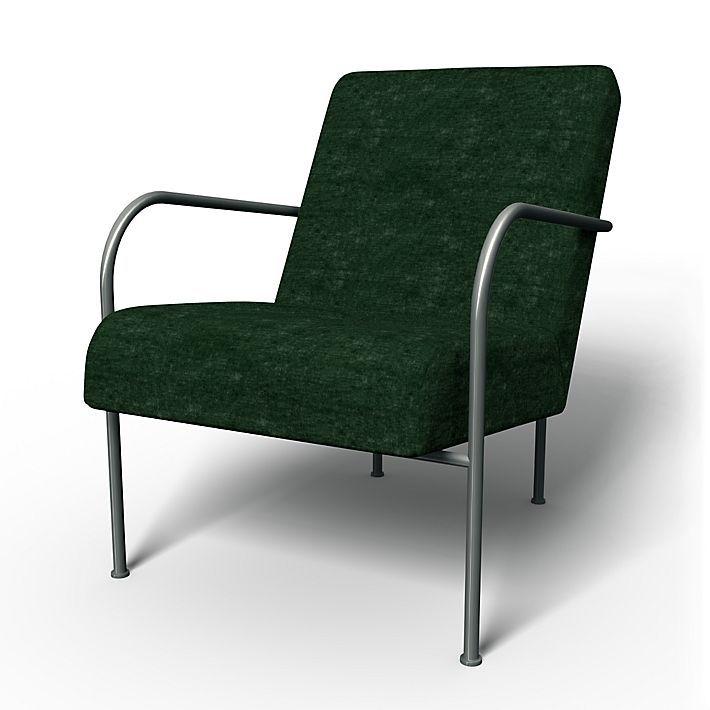 Ikea PS , Armchair Covers, Armchair, Regular Fit using the fabric Zaragoza Vintage Velvet Viridian
