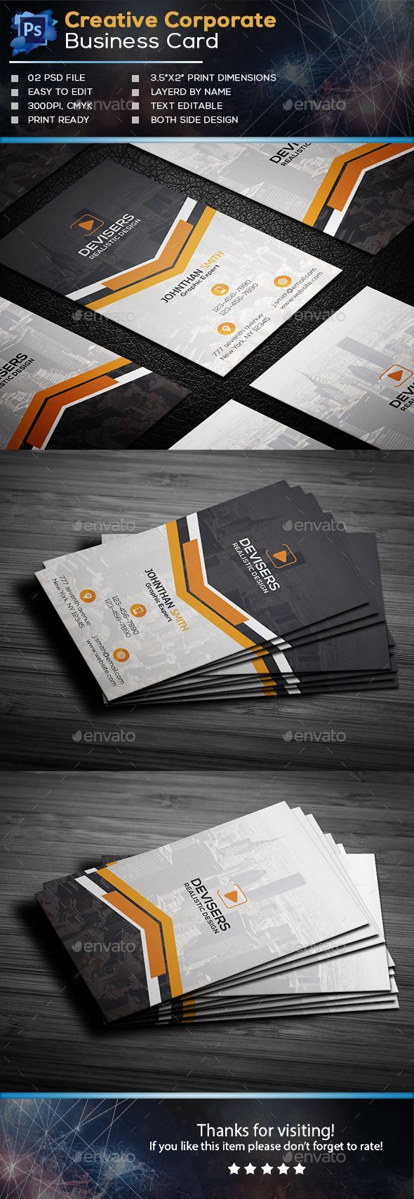 211 best business cards images on pinterest visit cards business corporate business card template psd wajeb Images