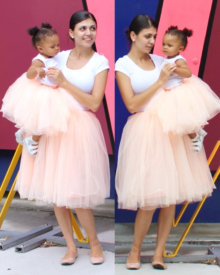 Claire Mommy and Me Tulle skirts in Blush Peach (cestcany.com)