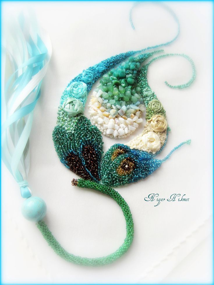 pearl embroidery with semi-precious stones (turquoise, aquamarin, aventurin) by Nigar Hikmet