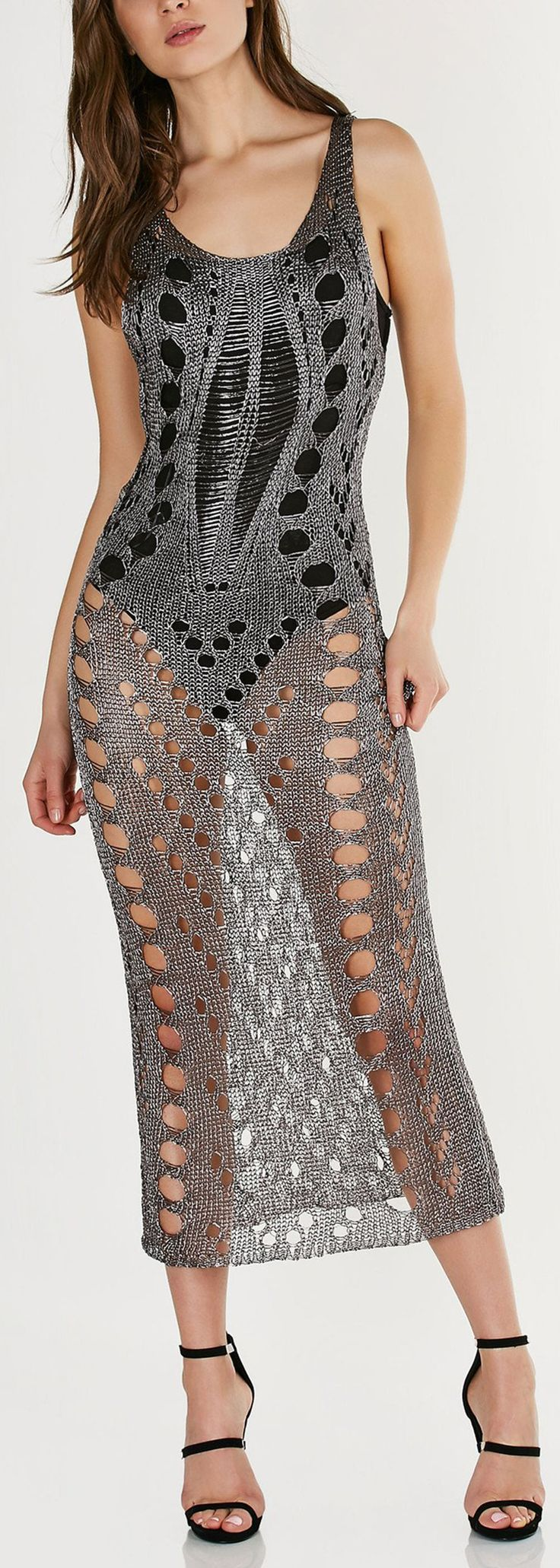 Sleeveless U-neck maxi dress with metallic finish. Heavy distressing with shredded holes throughout with straight hem all around. - Viscose-Metallic blend - Imported - Model is wearing size S - Runs t