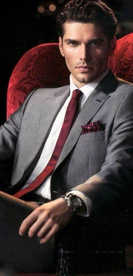 Grey Suit With Burgundy Tie.