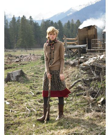 scarf, sweater, skirt, leggings, boots {&& i love the red band across the bottom of the skirt}