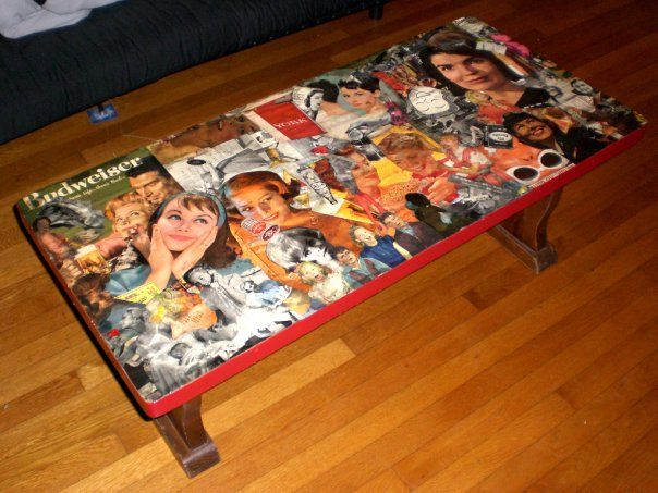 Decoupage coffee table - I've been wanting to do this.