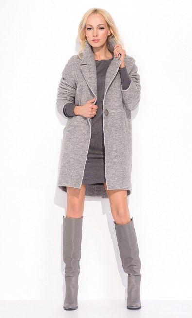 Szary, ciepły płaszcz BIANKA ZAP215050 - ZAPS - Sklep Zaps | on-line fashion