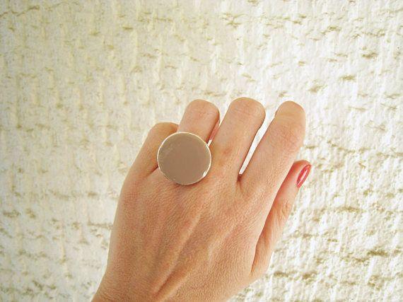 Taupe ring beige tan khaki resin ring round ring cocktail