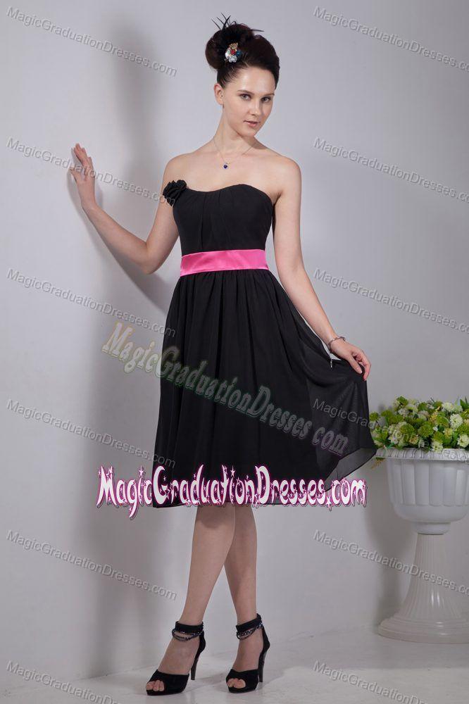Empire Strapless Black University Graduation Dress with Sashes