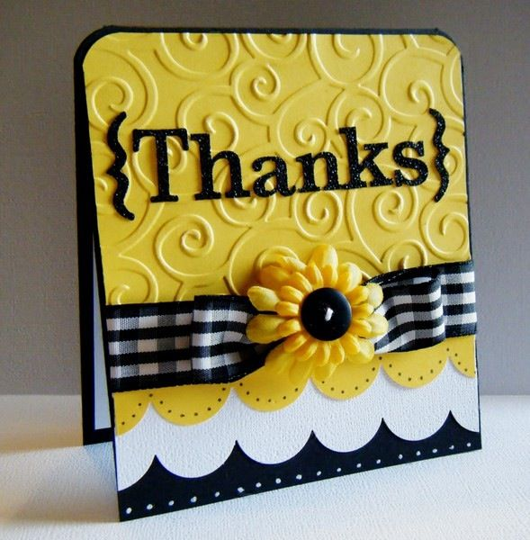 very  cute Thanks black and yellow note card