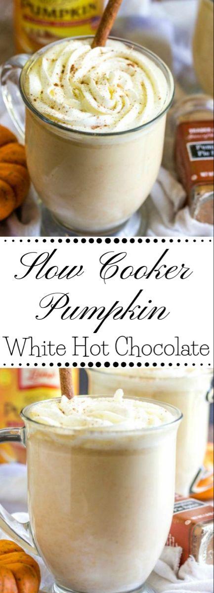 SLOW COOKER PUMPKIN WHITE HOT CHOCOLATE #pumpkin #drink #healthyrecipes #chocola…