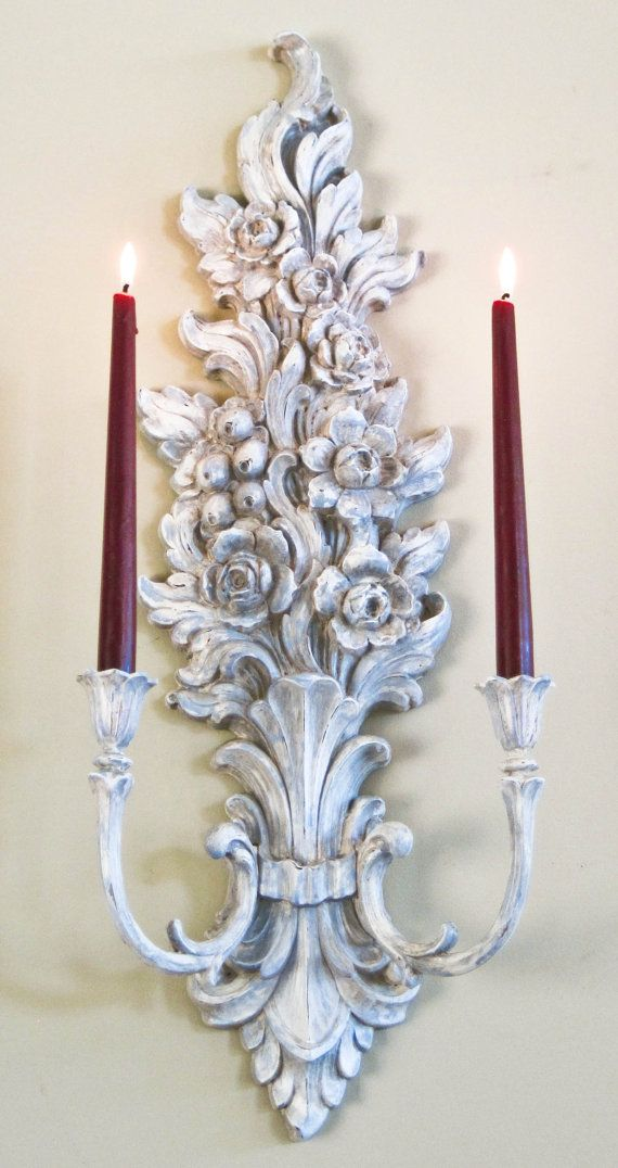 French Country Wall Candle Sconce Large Double By