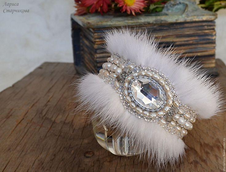 Купить браслет из норки вышитый жемчугом - белый, браслет, браслет с камнями, жемчуг, браслет с жемчугом