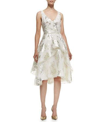 V-Neck Tiered Metallic Floral Dress by Lela Rose at Neiman Marcus.