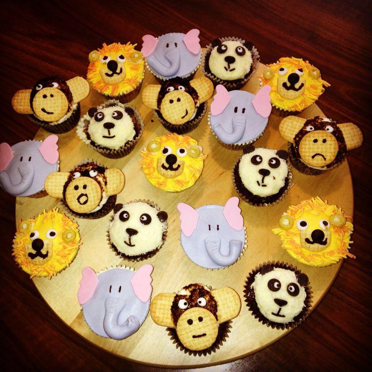 Dierentuin cupcakes: leeuw, aap, olifant & panda
