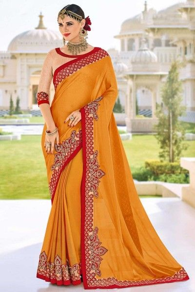 Embroidered Fancy Chiffon Saree with Lace Border In Orange