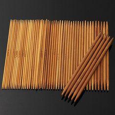 #Banggood 55pcs 11 размеры обугленного бамбука двойной вязальные спицы шляпа свитер шарф крючком (1018919) #SuperDeals