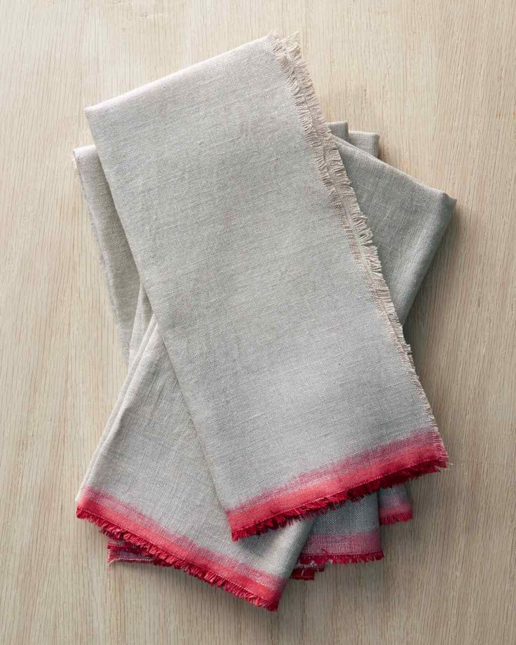 DIY SUmmer Napkins! Perfect for pic-nics. Dip-Dyed Linen Napkins #DIY
