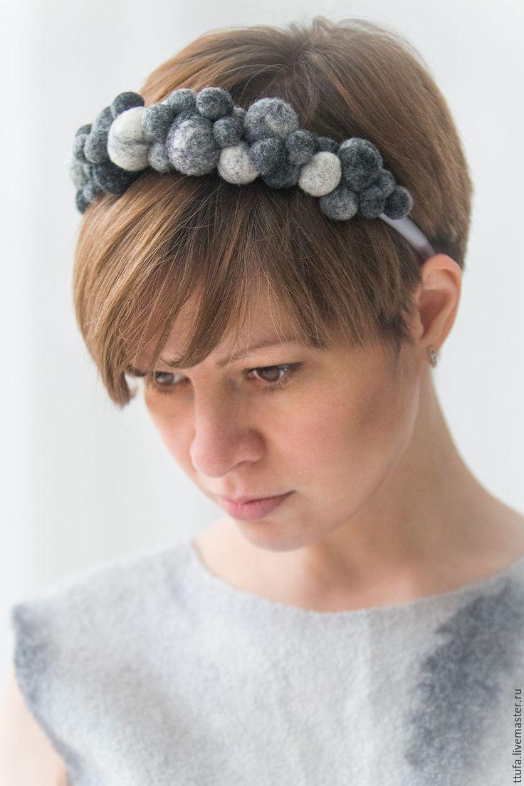 """Купить Ободок для волос """"Серебряная роса"""". - серый, ободок, обруч, диадема, украшение для волос"""