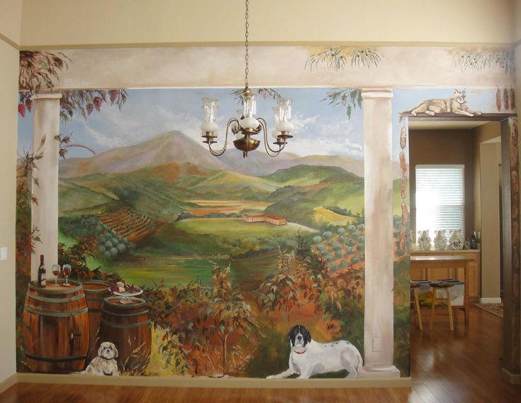 Tuscan wall murals area mural artist marion hatcher for Angel wall mural