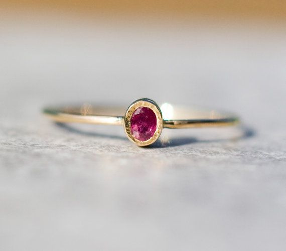 Dainty, simple. Ruby ring in 14k gold, delicate jewelry, stacking ring, july birthstone,natural ruby, Valentine's engagement ring