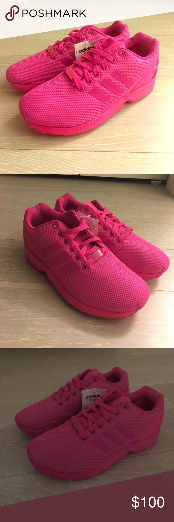 Adidas Flux Hot pink sneakers brand new with tags! Never worn! Just got them but they sent me the wrong size. Adidas Shoes Sneakers