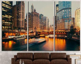 Lona de arte Chicago Chicago pared imprimir Chicago pared decoración Chicago lienzo Art Chicago Chicago arte paisaje urbano Chicago horizonte Chicago rascacielos