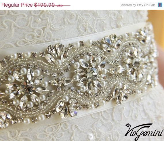 Bridal sash, rhinestones and pearl sash, wedding sash, jeweled sash belt on Etsy, $179.99