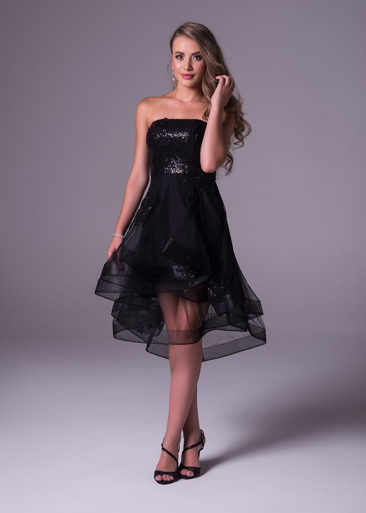 This strapless little black dress will make you party perfect. It shows off a fully sequinned bodice and the sass doesn't end there. The layered organza skirt will flounce as you dance the night away. Oleg Cassini available exclusively at Bride&co: http://www.brideandco.co.za/product/new-collection/vc3180/