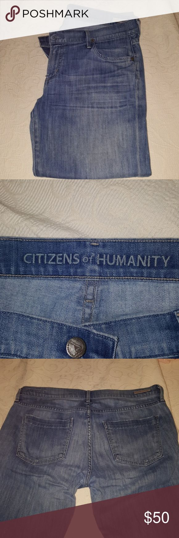 **SALE TODAY**Citizens of Humanity crop jeans Size 31 Capri length jeans by Citizens of Humanity. Very distressed finish...zipper works perfectly. Have been worn but have tons of life left. A steal at this price???? Citizens of Humanity Jeans Ankle & Cropped