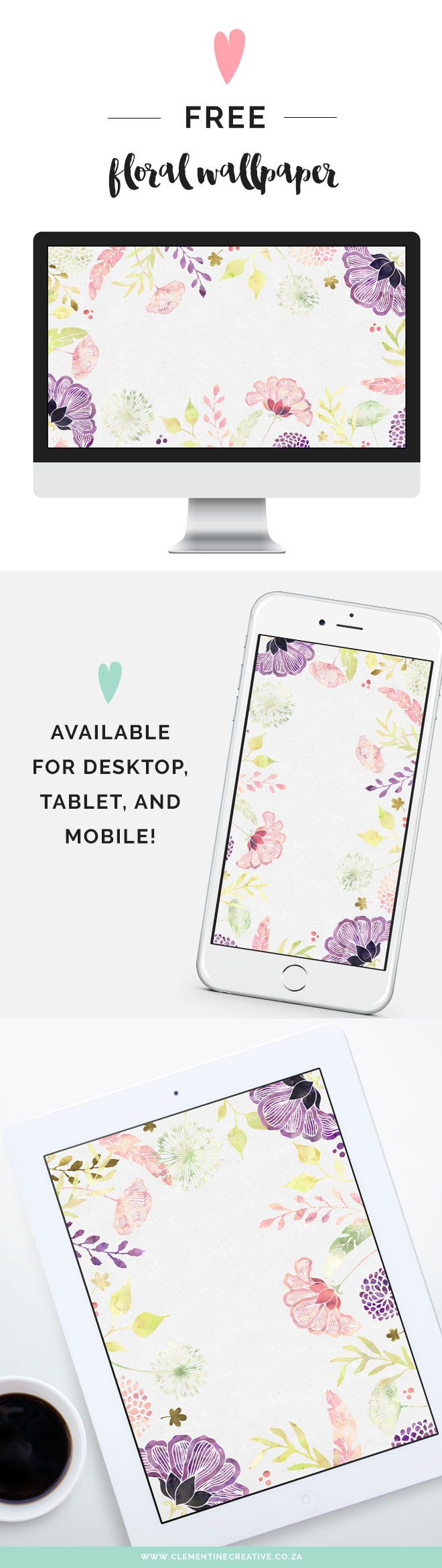 Free Floral Desktop Wallpaper - I Choose Happiness | Download this beautiful wallpaper from Clementine Creative