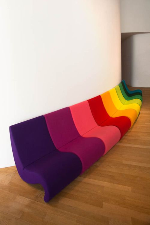 Verner Panton. These would be fun in some public space like a library or doctor's office.