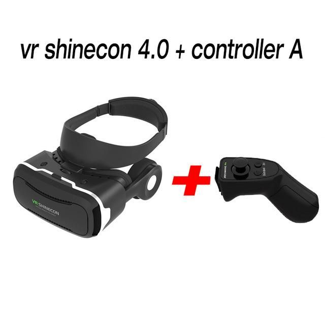 VR Shinecon 4.0 3D glasses Virtual Reality goggles google Cardboard VR BOX 2.0 VR headset with headphones gampad For smartphone
