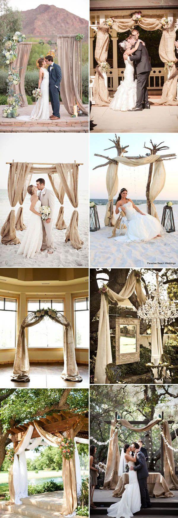 rustic burlap wedding altar ideas for ceremony