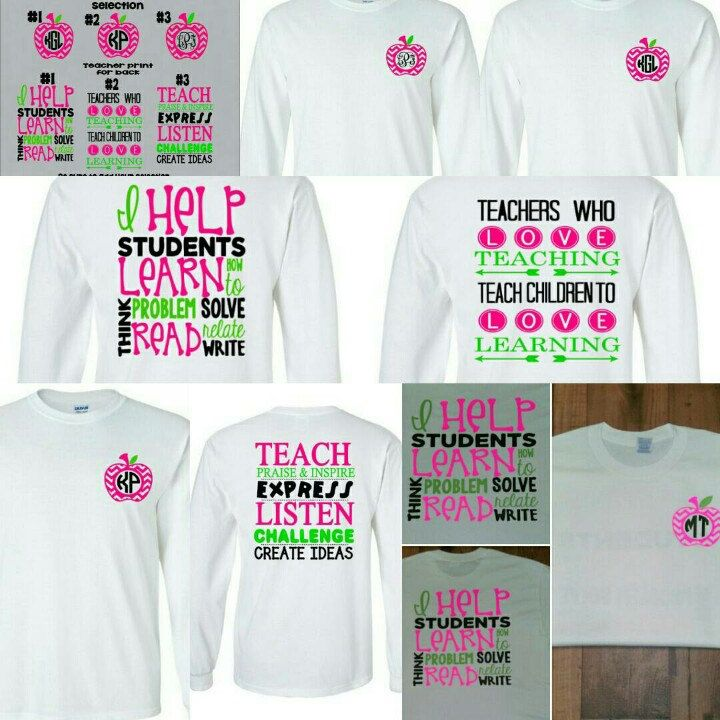 Check out my new listing! Super cute teacher monogram shirts, variety of prints front and back!