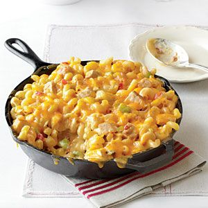 King Ranch Chicken Mac and Cheese | Combine two cheesy Southern favorites in one satisfying dish for a meal both kids and adults will love.