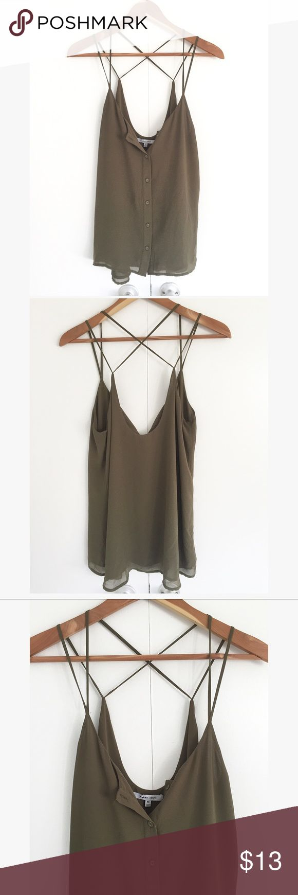 Olive green Strappy top Size M • button down front • polyester Tops Blouses