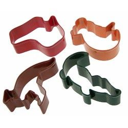 Cookie cutters Australian Animals. Kangaroo, crocodile, koala & Australia shapes. Use for cookies, sandwiches, toffees, fairy bread, fondant to make cupcakes and cakes - get creative today. Good idea for your Australia day celebration! #australiaday #australiacookies #australiacookiecutters #kangaroocookies #koalacookiecutter #cookies #australia #crocodilecookiecutter #sugartime #cakedecorating
