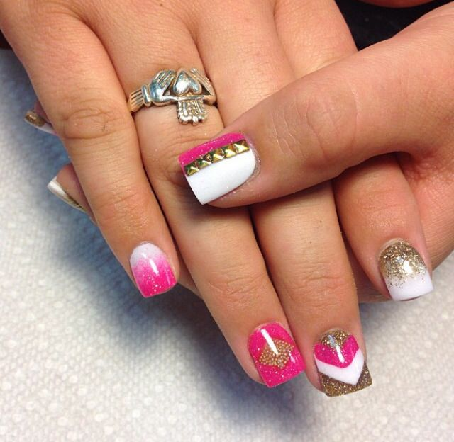 53 best nails images on pinterest nail scissors belle nails and gold white and pink acrylic nails prinsesfo Images