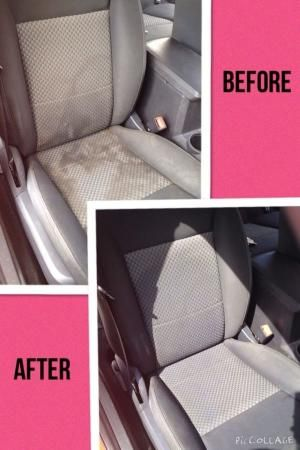 Clean water spots and stains from your cloth car seats! Just add equal parts of club soda, white vinegar, and blue dawn dish soap. Mix into a spray bottle and generously spray on seats. Scrub with a scrub brush and then rub with a clean towel or rag! Simple, easy, and cheap!!!!!! by Carol's by joanne