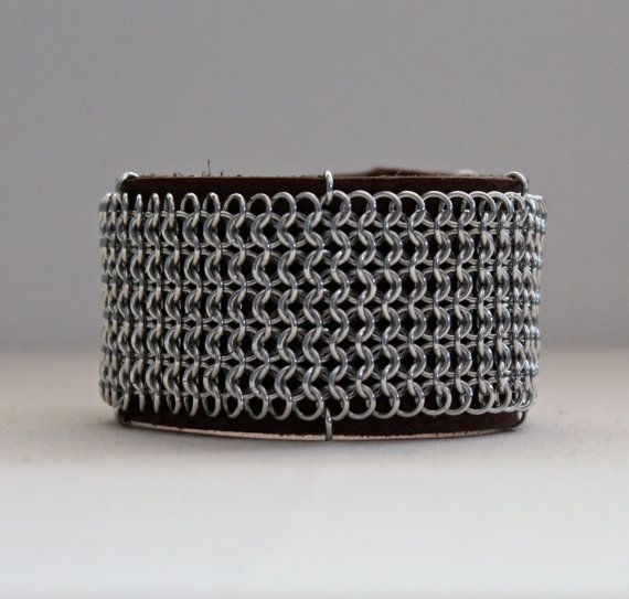 Handcrafted chainmaille leather cuff bracelet.
