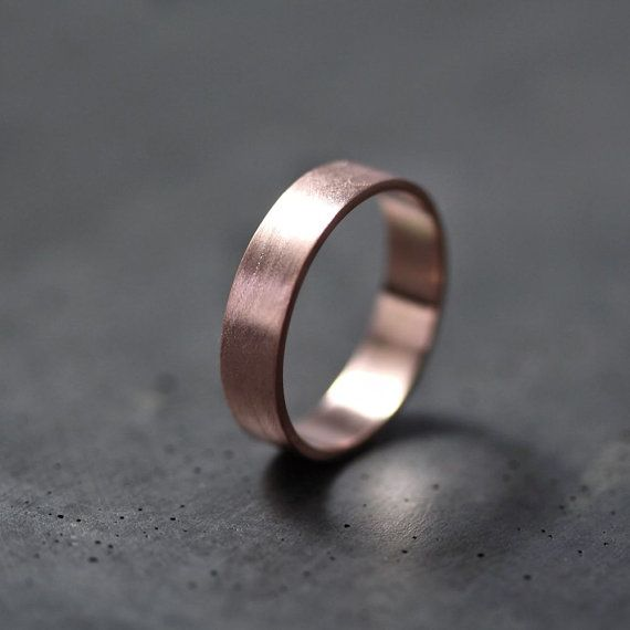 Rose Gold Men's or Women's Wedding Band 5mm Flat by TheSlyFox, $525.00