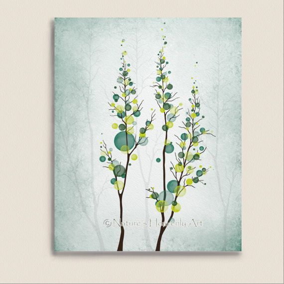 Blue Green Tree Wall Artwork 8 x 10 Print, Yellow Circle Pattern Home Decor, Teal Wall Art Print (208)