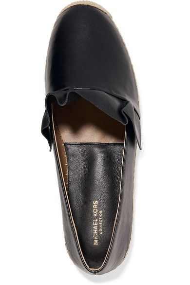 Heel measures approximately 10mm/ 0.5 inches Black leather Slip on Imported