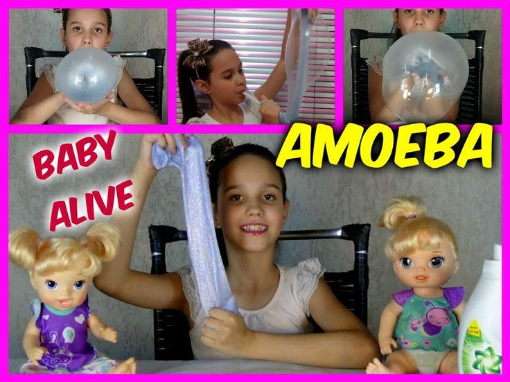 AMOEBA DA BABY ALIVE QUE FAZ BOLHAS  FEITA COM SABÃO LÍQUIDO E COLA - co...