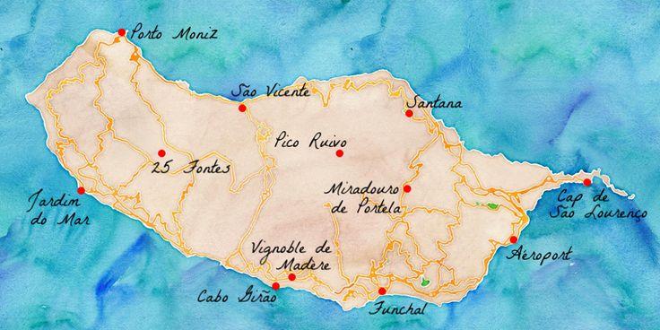 Carte des lieux touristiques de Madère.