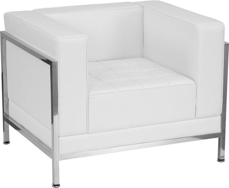 Flash Furniture ZB-IMAG-CHAIR-WH-GG HERCULES Imagination Series Contemporary White Leather Chair with Encasing Frame