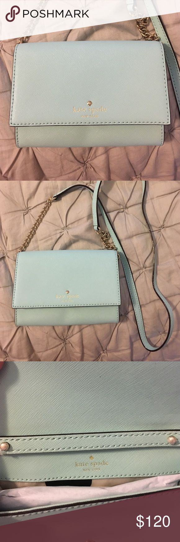 Kate Spade Crossbody. Beautiful Robins Eggs color! Kate Spade Crossbody. Brand new. Beautiful Robins Egg color. Simple yet chic and adds a feminine touch to any outfit! Kate Spade Bags Crossbody Bags